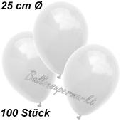 Luftballons 25 cm, Weiß, 100 Stück