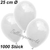 Luftballons 25 cm, Weiß, 1000 Stück