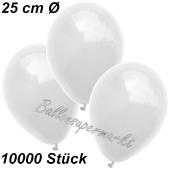 Luftballons 25 cm, Weiß, 10000 Stück