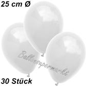 Luftballons 25 cm, Weiß, 30 Stück