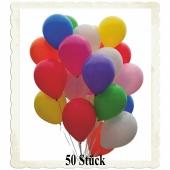 Luftballons Bunt Gemischt, 28-30 cm, 50 Stück, preiswert und günstig