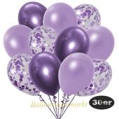 luftballons-30er-pack-10-flieder-konfetti-und-10-metallic-lila-10-chrome-lila