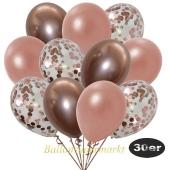 luftballons-30er-pack-10-rosegold-konfetti-und-10-metallic-rosegold-10-chrome-rosegold