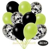 luftballons-30er-pack-10-schwarz-konfetti-und-10-metallic-apfelgruen-10-metallic-schwarz