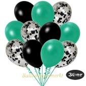 luftballons-30er-pack-10-schwarz-konfetti-und-10-metallic-tuerkisgruen-10-metallic-schwarz