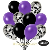 luftballons-30er-pack-10-schwarz-konfetti-und-10-metallic-violett-10-metallic-schwarz