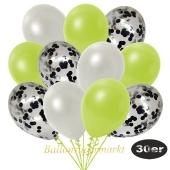 luftballons-30er-pack-10-schwarz-konfetti-und-10-metallic-weiss-10-metallic-apfelgruen