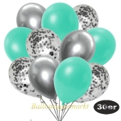 luftballons-30er-pack-10-silber-konfetti-und-10-metallic-aquamarin-10-chrome-silber