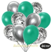 luftballons-30er-pack-10-silber-konfetti-und-10-metallic-tuerkisgruen-10-chrome-silber