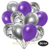 luftballons-30er-pack-10-silber-konfetti-und-10-metallic-violett-10-chrome-silber