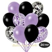 luftballons-30er-pack-5-flieder-5-schwarz-konfetti-und-10-metallic-lila-10-metallic-schwarz