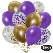 luftballons-30er-pack-5-lila-5-gold-konfetti-und-10-metallic-violett-10-chrome-gold