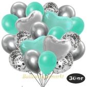 luftballons-30er-pack-9-silber-konfetti-und-9-metallic-aquamarin-8-chrome-silber-2-folienballons-silber-2-folienballons-tuerkis