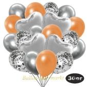 luftballons-30er-pack-9-silber-konfetti-und-9-metallic-orange-8-chrome-silber-4-folienballons-silber