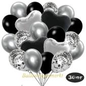 luftballons-30er-pack-9-silber-konfetti-und-9-metallic-schwarz-8-chrome-silber-2-folienballons-silber-2-folienballons-schwarz