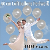 Luftballons 40 cm, Perlweiß, 100 Stück