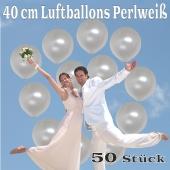 Luftballons 40 cm, Perlweiß, 50 Stück