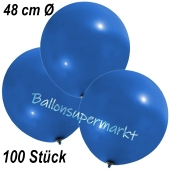 Große Luftballons, 48-51 cm, Blau, 100 Stück