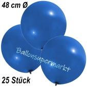 Große Luftballons, 48-51 cm, Blau, 25 Stück