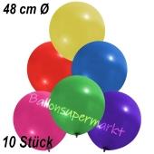 Große Luftballons, 48-51 cm, Bunt gemischt, 10 Stück