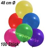 Große Luftballons, 48-51 cm, Bunt gemischt, 100 Stück