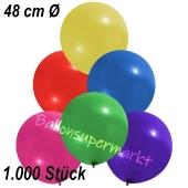 Große Luftballons, 48-51 cm, Bunt gemischt, 1000 Stück