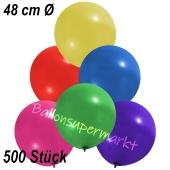 Große Luftballons, 48-51 cm, Bunt gemischt, 500 Stück