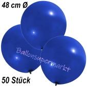 Große Luftballons, 48-51 cm, Dunkelblau, 50 Stück