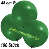 Große Luftballons, 48-51 cm, Dunkelgrün, 100 Stück