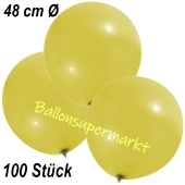 Große Luftballons, 48-51 cm, Gelb, 100 Stück