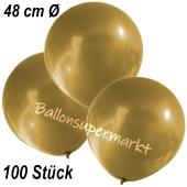 Große Luftballons, 48-51 cm, Gold, 100 Stück