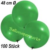 Große Luftballons, 48-51 cm, Grün, 100 Stück