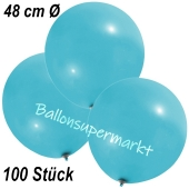 Große Luftballons, 48-51 cm, Hellblau, 100 Stück