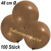 Große Luftballons, 48-51 cm, Mokkabraun, 100 Stück