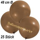 Große Luftballons, 48-51 cm, Mokkabraun, 25 Stück