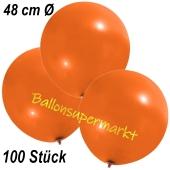 Große Luftballons, 48-51 cm, Orange, 100 Stück
