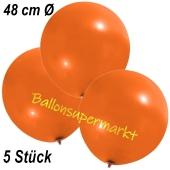 Große Luftballons, 48-51 cm, Orange, 5 Stück