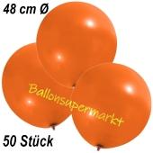 Große Luftballons, 48-51 cm, Orange, 50 Stück