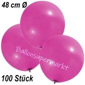 Große Luftballons, 48-51 cm, Pink, 100 Stück