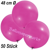 Große Luftballons, 48-51 cm, Pink, 50 Stück