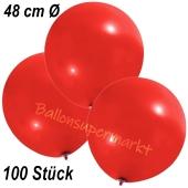 Große Luftballons, 48-51 cm, Rot, 100 Stück
