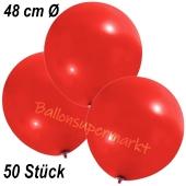 Große Luftballons, 48-51 cm, Rot, 50 Stück