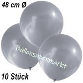 Große Luftballons, 48-51 cm, Silber, 10 Stück