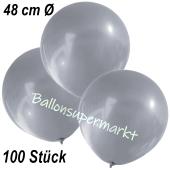 Große Luftballons, 48-51 cm, Silber, 100 Stück
