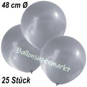 Große Luftballons, 48-51 cm, Silber, 25 Stück