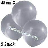 Große Luftballons, 48-51 cm, Silber, 5 Stück