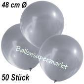 Große Luftballons, 48-51 cm, Silber, 50 Stück