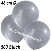 Große Luftballons, 48-51 cm, Silber, 500 Stück