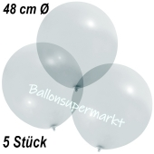 Große Luftballons, 48-51 cm, Transparent, 5 Stück