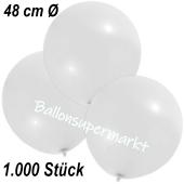 Große Luftballons, 48-51 cm, Weiß, 1000 Stück